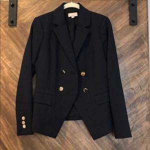 Ann Taylor Loft Double Breasted Blazer Navy 0